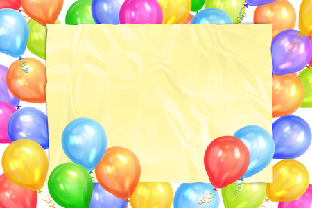 Border of realistic colorful helium balloons and yellow sheet. Party decoration frame for birthday, anniversary, celebration. Vector illustration