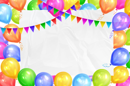 Border of realistic colorful helium balloons, flags garlands and white sheet. Party decoration frame for birthday, anniversary, celebration. Vector illustration Illustration