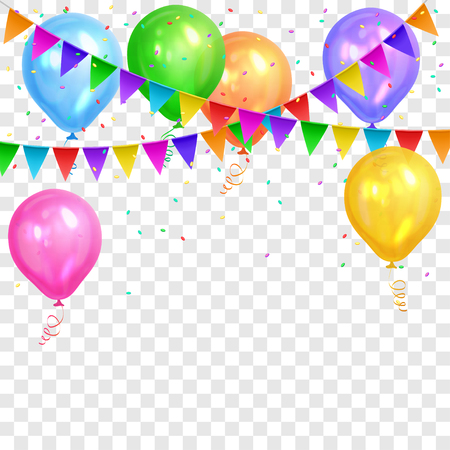 Border of realistic colorful helium balloons and flags garlands isolated on transparent background. Party decoration frame for birthday, anniversary, celebration. Vector illustration Illustration