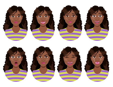 Womens emotions. Female face expression. Calm, smile, sadness, joy, surprise, anger, laughter, crying. Cute cartoon girl.
