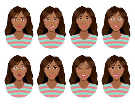 Vrouwen emoties. Vrouwelijke gezichtsuitdrukking. Rust, lach, verdriet, vreugde, verrassing, boosheid, lachen, huilen. Leuk cartoon meisje.