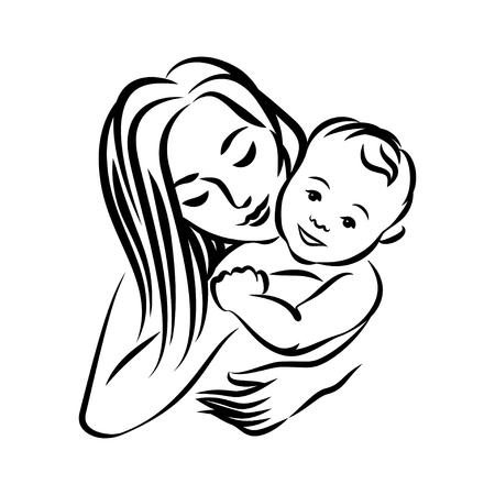 彼女の赤ちゃんと母親