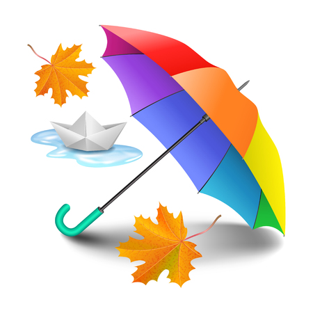 Multicolored realistic umbrella with falling yellow leaves and paper ship. Origami made sailing boat and open umbrella in rainbow colors isolated on white background. Vector illustration