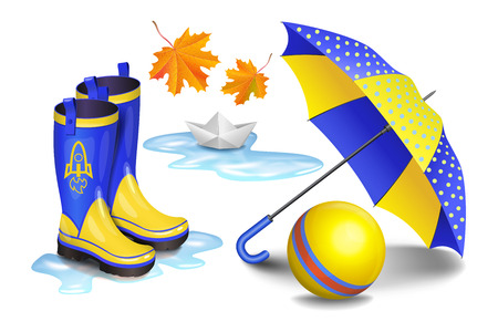 Blue-yellow gumboots, childrens umbrella, toy ball, falling orange leaves and paper boat in puddle. Childhood, autumn and rain concept. Realistic vector illustration