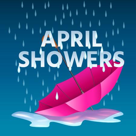 Parapluie rose ouvert dans les flaques d'eau avec des gouttes de pluie et des averses de texte d'avril. Illustration vectorielle réaliste