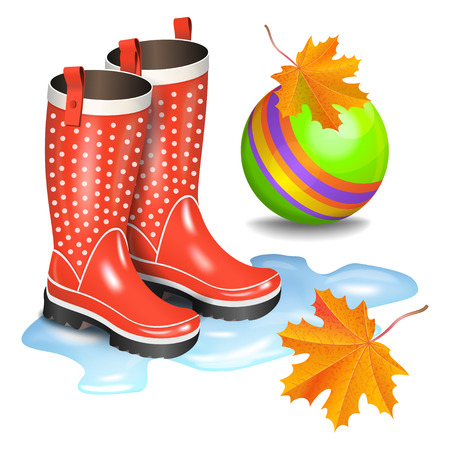 Rain red gumboots with dots in puddle, green childrens toy ball and falling orange maple leaves. Childhood, autumn and rain concept. Realistic vector illustration