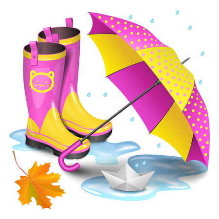 Pink-yellow gumboots, childrens umbrella, falling orange maple leaves and paper boat in puddle. Childhood, autumn and rain concept. Realistic vector illustration