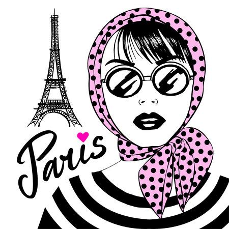 シンボル フランス エッフェル タワーとサングラスで美しい少女。フランスの首都パリのファッションの若い女性と。ベクター スケッチ図