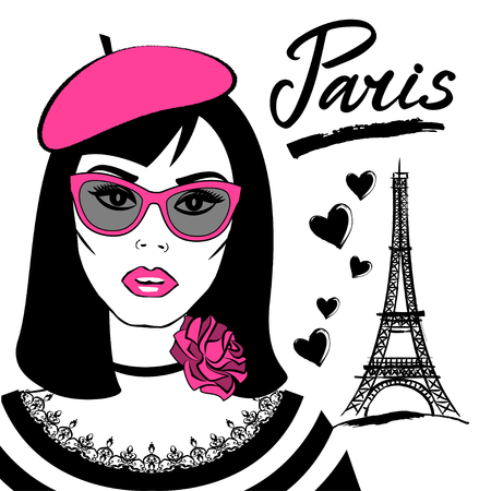 Beautiful girl in sunglasses with symbol France-Eiffel tower. Fashion young woman and French capital Paris. Vector sketch illustration