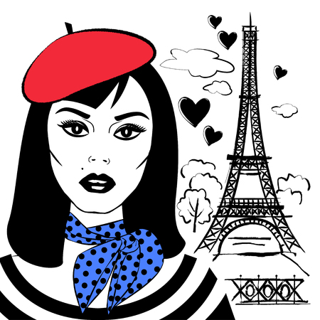 Beautiful girl in beret with symbol France-Eiffel tower. Fashion young woman and French capital Paris. Vector sketch illustration
