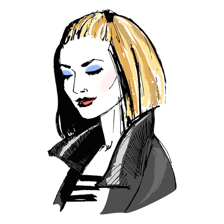Beautiful girl with makeup in leather jacket. Portrait of fashion young woman. Fashion sketch. Stylish woman. Vector illustration
