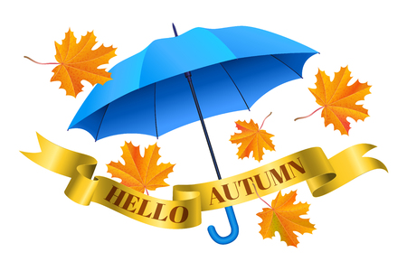 Blue realistic umbrella, falling orange maple leaves and golden ribbon with text hello autumn. Vector illustration Illustration