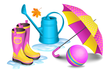 gumboots: Pink-yellow gumboots in puddles, childrens umbrella, blue watering can, toy ball and maple leaf. Childhood, autumn and rain concept. Vector illustration Illustration