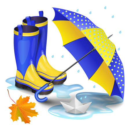 gumboots: Blue-yellow gumboots, childrens umbrella, falling orange maple leaves and paper boat in puddle. Childhood, autumn and rain concept. Realistic vector illustration