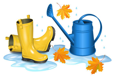 gumboots: Yellow gumboots in puddle, blue watering can and falling orange maple leaves. Autumn, gardening, season illustration. Rainy day. Realistic vector