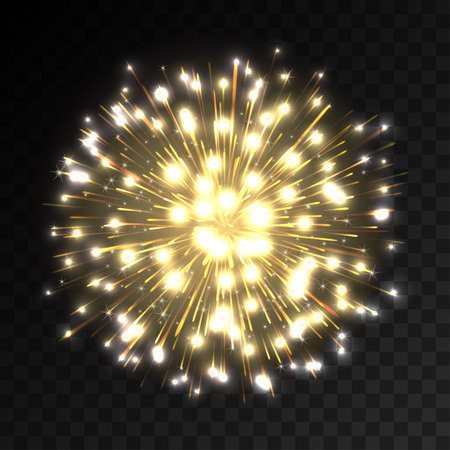 Colorful firework explosion on transparent background. White, gold and yellow lights. New Year, birthday and holiday celebration firework on black. Abstract Vector illustration