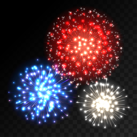 Colorful fireworks explosion on transparent background. Blue, white and red lights. New Year or holiday celebration fireworks on black. Abstract Vector illustration Illustration