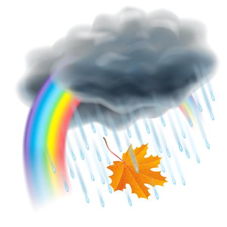 specific: Rain illustration. Realistic gray clouds, raindrops, rainbow and falling orange maple leaf. Autumn and rain, different weather, season specific. Vector illustration Illustration