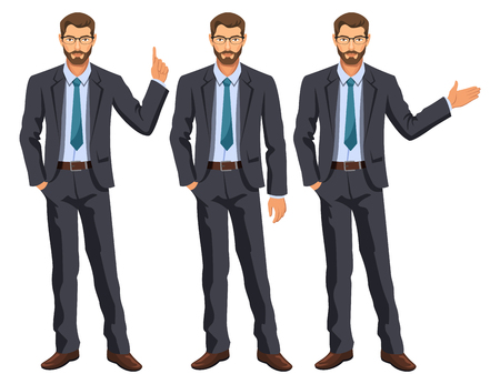 Man in business suit with tie. Bearded guy, gesturing. Elegant businessman in different poses. Stock vector