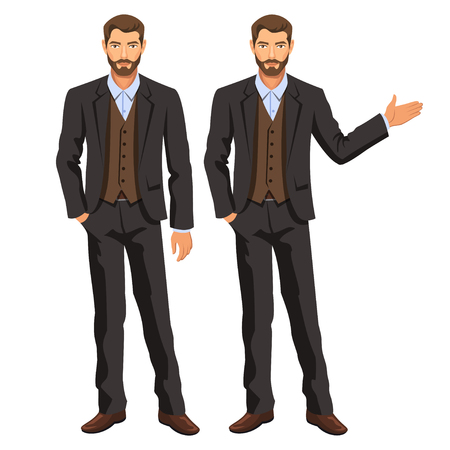 Man in business suit with vest. Bearded guy, gesturing. Elegant businessman in costume. Stock vector Vectores