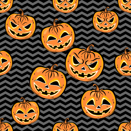 scrap book: Seamless pattern with orange halloween pumpkins on dark striped background. Halloween design template for scrap-book paper, textile print, page fill. Vector Illustration