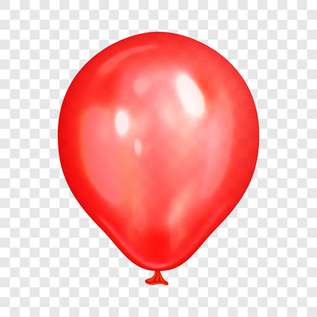 Realistic red balloon, isolated on transparent background. Balloon for birthday party, celebration, festival. Flying glossy balloon. Holiday vector Illustration Illustration