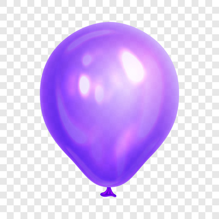 Realistic purple balloon, isolated on transparent background. Balloon for birthday party, celebration, festival. Flying glossy balloon. Holiday vector Illustration Ilustracja