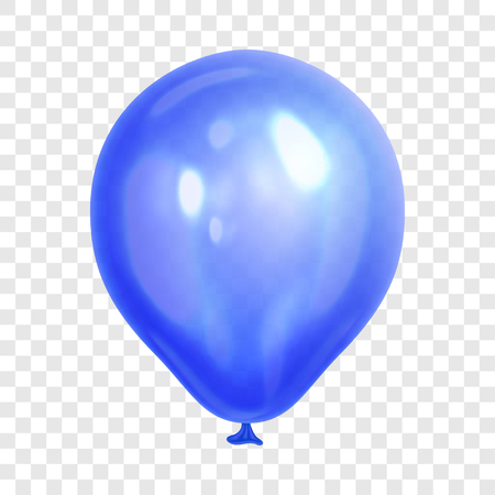 Realistic blue balloon, isolated on transparent background. Balloon for birthday party, celebration, festival. Flying glossy balloon. Holiday vector Illustration Illustration