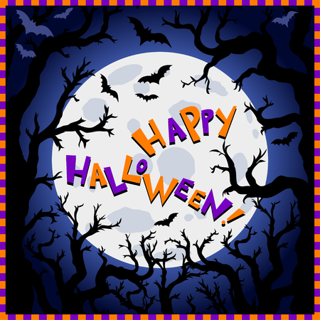 Halloween background. Scary trees, big moon and flying bats on dark background, text Happy Halloween. Night autumn landscape. Vector Illustration