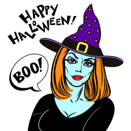 night dress: Woman in halloween costume and witch hat. Witch and text Happy Halloween. Halloween Party design template for poster. Vector illustration