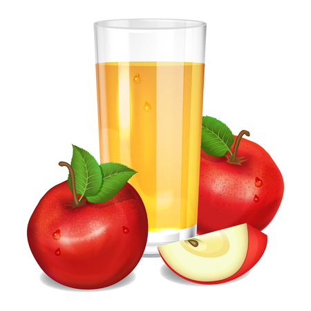 Fresh apple juice in glass, red apples and piece of apple. Realistic transparent tall glass of juice, vector illustration on white background