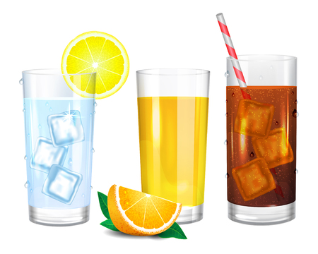 Three realistic glasses of drinks. Cola with straw. Yellow orange juice and piece of fruit. Water with ice cubes. Vector illustration on white background