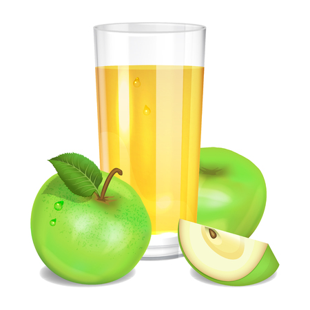 pulp: Fresh apple juice in glass, green apples and piece of apple. Realistic transparent tall glass of juice, vector illustration on white background
