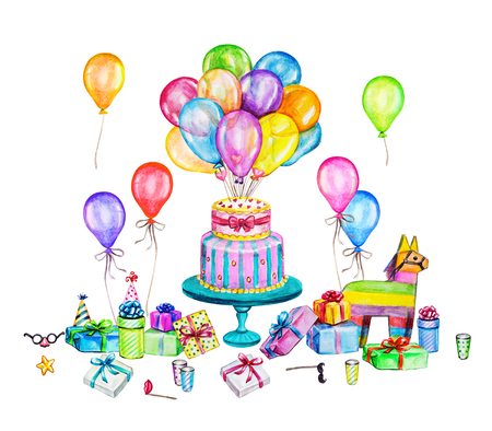 Watercolor Happy Birthday party illustration. Hand drawn celebration objects: gift boxes, air balloons, Birthday cake, pinata Stock Illustration - 89249168