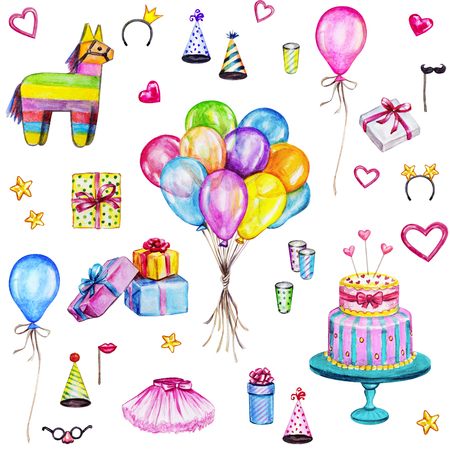 Watercolor Happy Birthday seamless pattern. Hand drawn celebration objects: gift boxes, air balloons, Birthday cake, pinata Stock Photo