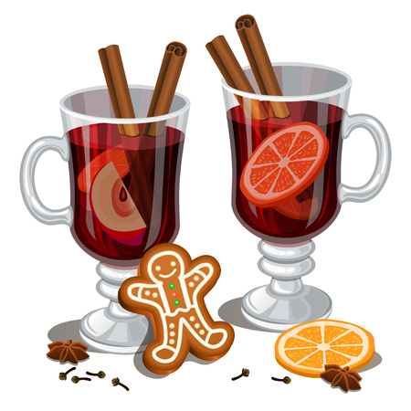 Christmas mulled wine with spices, gingerbread man, orange slice, anise and cinnamon sticks. Illustration