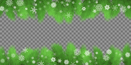 Christmas card. Holiday background with fir twigs and snowflakes on transparent background. Evergreen tree branches border. Vector illustration