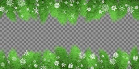 Cartão de Natal. Fundo de férias com galhos de abeto e flocos de neve em fundo transparente. Beira de galhos de árvores perenes. Ilustração do vetor Foto de archivo - 91443620