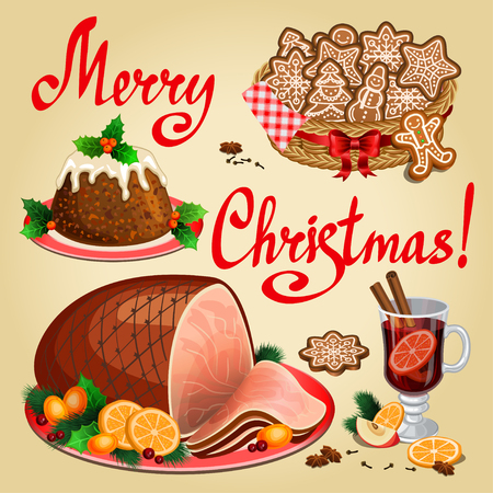 Christmas dinner, traditional christmas food and desserts, Christmas ham, Christmas pudding, ginger cookies, mulled wine. Vector illustration Ilustração