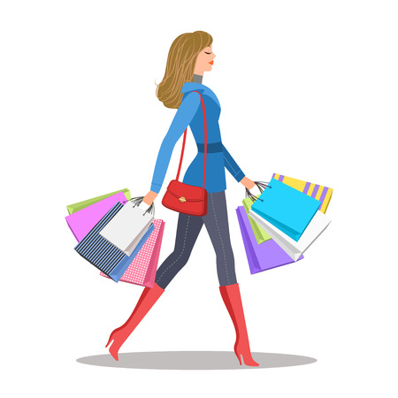 Shopping girl. Woman with colorful shopping bags. Sale and shopping concept. Vector illustration.
