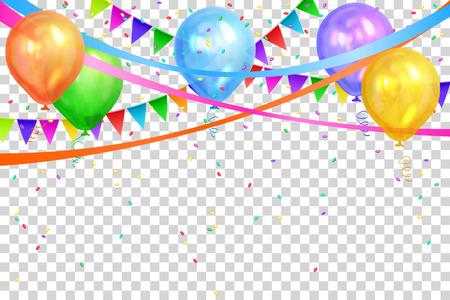 Conception de joyeux anniversaire. Frontière de ballons d'hélium colorés réalistes et de guirlandes de drapeaux. Isolé sur fond transparent. Cadre de décoration de fête pour anniversaire, anniversaire, célébration. Illustration vectorielle.