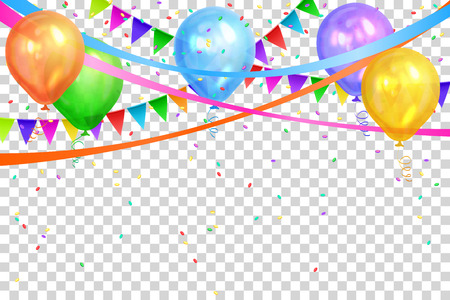 Happy Birthday design. Border of realistic colorful helium balloons and flags garlands. Isolated on transparent background. Party decoration frame for birthday, anniversary, celebration. Vector illustration.