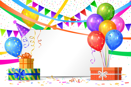 Happy Birthday design. Realistic colorful helium balloons, gift boxes, flags garlands and white sheet. Party decoration frame for birthday, anniversary, celebration.