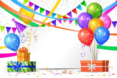 Gelukkige verjaardag ontwerp. Realistische kleurrijke heliumballonnen, geschenkdozen, vlaggenslingers en wit laken. Feestdecoratie frame voor verjaardag, jubileum, feest.
