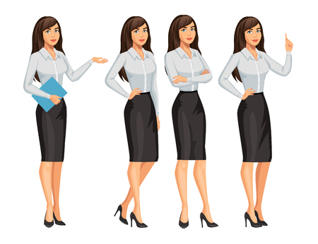 Woman in business style. Elegant brunette girl in different poses. Consultant or secretary, standing and gesturing. Stock vector, eps 10