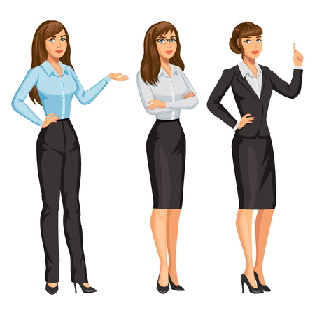 Woman in business suit with glasses. Elegant brunette girl in different poses. Consultant or secretary, standing and gesturing. Stock vector illustration.