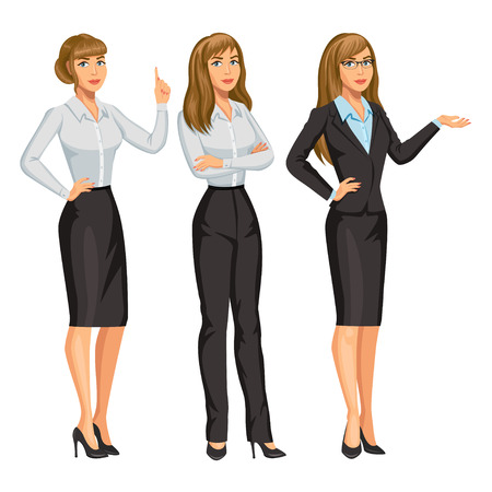 Woman in business suit with glasses. Elegant blond girl in different poses. Consultant or secretary, standing and gesturing. Stock vector illustration. Illustration