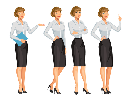 Woman in business style. Elegant blond girl in different poses. Consultant or secretary, standing and gesturing. Stock vector, eps 10
