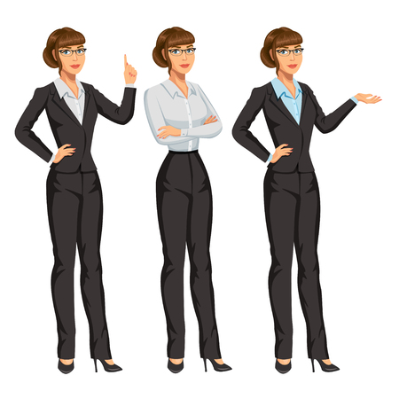 Woman in business suit with glasses. Elegant girl in different poses. Businesswoman or secretary, standing and gesturing. Stock vector, eps 10 Illustration