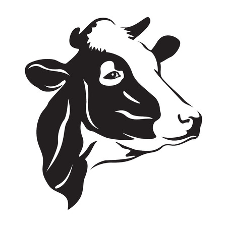 Cow head stylized symbol, cow portrait. Silhouette of farm animal, cattle. Emblem, logo or label for design. Vector illustration